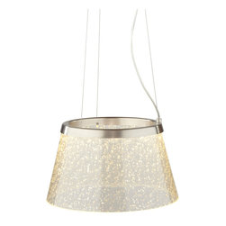 LBL Lighting - Duke -  LED Suspension Lamp | LBL - LBL Lighting Duke LED Suspension�_Lamp features�_glass shade with mica flakes or spherical glass beads embedded onto the glass and edge-lit by LED's. Manufacturer:�_LBL LightingSize:�_15 in. diameter x 8.6 in. height x 72 in. field-cuttable aircraft cable. Light Source:�_1 x 12 watt 3000K LED module 120V - included Certifications: UL Location:�_Dry Dimmable�_sold separately low-voltage electronic dimmer or univeral dimmer