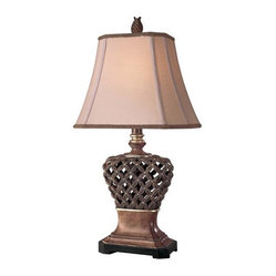 Ambience - Ambience Table Lamp - 10835 - Feeling cagey? This stately lamp features a delicate cage-like design on the base, as well as a classically shaped shade. On an end table in your living room, it will put a new twist on a definitive style.