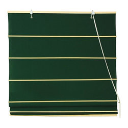 Oriental Unlimited - Cotton Roman Shades in Dark Green (72 in. Wid - Choose Size: 72 in. WideWarm and inviting with a casual style, this durable Roman shade is a classic window treatment that will easily showcase your timeless design style. Finished in dark green, the shade has natural ribs for added visual interest and is available in a selection of different sizes. These Dark Green colored Roman Shades combine the beauty of fabric with the ease and practicality of traditional blinds. Made of 100% cotton. Easy to hang and operate. 24 in. W x 72 in. H. 36 in. W x 72 in. H. 48 in. W x 72 in. H. 60 in. W x 72 in. H. 72 in. W x 72 in. H