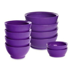"Simple Wave Llc - Calibowl Bowls in Purple - Avoid spills with the specially-designed and versatile Calibowls. Feature a non-spill smart ""lip"" that redirects food back onto your utensil preventing a mess."