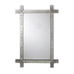 Winsford Rectangle Hand Etched Venetian Mirror - The delicate beauty of a posy of English garden blooms prettifies the Antique Frame of the Winsford Rectangle Hand Etched Venetian Mirror. Its size is substantial; its etchings, dainty. �A simple floret with a tiny rose-colored bead as its center adorns each corner of the frame, echoing the wisps of blossoms and leaves that embellish the striking yet subtle frame.