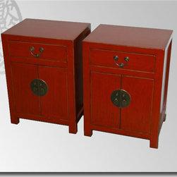 Asian Antique Furniture - RAP 6 Red End Tables