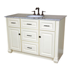 Bellaterra Home - 50 Inch Single Sink Vanity-Heirloom White - A solid wood construction matched with an elegant, traditional design makes this single bathroom vanity a perfect fit to your sophisticated taste. This cabinet features a rope insert raised door and drawer panels in a neutral cream white finish. All of the drawer glides and door hinges are outfitted with soft closing mechanisms, so that you will never hear a door slam again. With precise furniture quality integrated rabbet Joinery and a high quality commercial glue, this cabinet is a sturdy and long lasting feature. In addition, it has mechanical fasteners that give it optimal strength and stableness. With its four functional drawers, two doors with two shelves, this cabinet provides a generous amount of space for any size of bathroom. The sliding top tray of the vanity drawers feature a wooden, tiered storage divider, which is perfect for organizing cosmetics and those small items that are easily misplaced. It is topped with a sumptuous, classical Italian white Carrera marble, with undermount white ceramic sink. If you are looking for a vanity that exudes elegance of the highest quality, this vanity is the one.