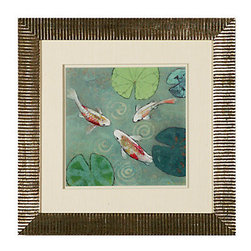 Z Gallerie - Floating Motion 1 - Framed in: Silver ornate cut beveled wood moulding with double matting