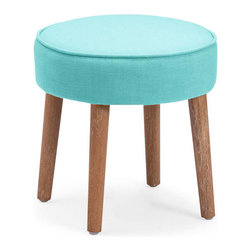 Dani Foot Stool in Aqua - Gentle color paired with rich texture is always a welcomed guest. The adorable Dani Foot Stool pops with texture and smooth style that's great for any space. Use it as an extra seat or as a footstool to put up your feet.
