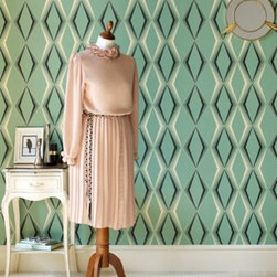 50-254 Hemingway Deco Diamond - If you like bold, then this 1930s inspired art-deco pattern wallpaper is for you!