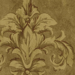 Wallquest - St30611 Damask Wallpaper - ST30611 from Saybrook is a cream, beige and brown damask on a beige faux wallpaper.