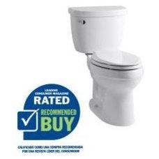 Toilets KOHLER Cimarron White 1.28 GPF WaterSense Elongated 2-Piece Comfort Height