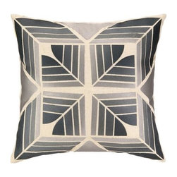 Trina Turk - Trina Turk Gridley Pillow-Slate - The Slate Gridley Pillow by Trina Turk is part of a line infused with bold signature prints and unique dynamic hues, Trina's modern and optimistic outlook meld the best of classic American design with a California confidence, incorporating beautiful fabrications and impeccable quality for the effortless elan and carefree glamour.