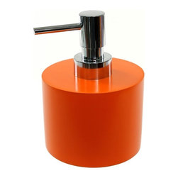 Gedy - Orange Short and Round Soap Dispenser in Resin - A decorative lotion soap dispenser for your luxurious master bathroom. Available in orange and made in steel and resin, this high-quality liquid dispenser is manufactured in and imported from in Italy by Gedy and is part of the Gedy Piccollo collection. C