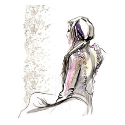 """Watercolor Fashion Illustration Original Painting, Original, Painting - Feminine and romantic, an original high fashion illustration painted from the live model and my imagination.  This is a signed one of a kind fine art sketch by Washington state artist Kathleen Ney. A skillfully rendered art piece for your home decor, this piece would be wonderful in a grouping!  The paper size is 14"""" x 17"""", the image extends to the edge. Drawn directly on heavy 96 lb. 260 gsm acid free recycled Canson bristol, so faint sketch lines may be visible. Will be shipped in rigid cardboard packaging with FREE SHIPPING in the U.S.  Please note: Colors may vary slightly due to photography and difference in monitors.  The copyright watermark shown here is not a part of the original art or prints. Purchase of original art does not transfer reproduction rights."""