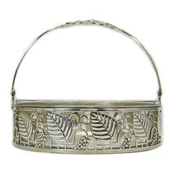 Lavish Shoestring - Consigned WMF Silver Plated and Glass Serving Basket, Antique German, circa 1910 - This is a vintage one-of-a-kind item.