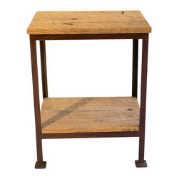 Handcrafted - Appalachian Small Side Table - This handcrafted table is made of salvaged wood from a 100 year old barn in the foothills of the Appalachian Mountains. Made of raw steel with a rust patina finish, this side table is the perfect piece for any room!