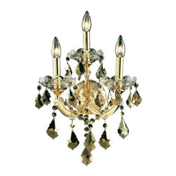 """PWG Lighting / Lighting By Pecaso - Karla 3-Light 12"""" Crystal Wall Sconce 2380W3G-GT-RC - Karla was an Empress from 1740 to 1780 in the waning days of the Baroque period. The Baroque love of embellishment is highlighted in the elaborate crystal swags and drops that fully dress these fixtures in a look that is pure luxury. From the gold or chrome finish to the fully lavish crystal dressing, this Karla collection represents opulent sophistication."""