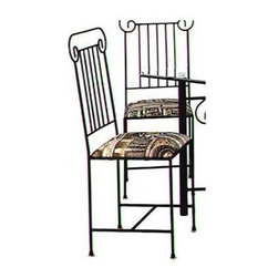 Grace Collection - Roman Column Side Chair - Seat height: 18 in.. Made from wrought iron. Made in USA. 19 in. W x 16 in. D x 40 in. H