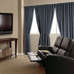 Absolute Zero - Absolute Zero Velvet Blackout Home Theater Curtain Panels - Transform any room in your home into a home theater with these blackout window curtain panels. Reminiscent of classic movie theater styling, these luxurious velvet curtains create the perfect atmosphere for at-home viewing.