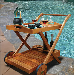 """Vifah - Hana Serving Cart - Entertain with simply lovely furniture that harmonizes with the beauty of nature. This gorgeous wood outdoor serving cart provides an easy way to roll the party into the fresh air. The bottom shelf has 3 compartments to stabilize breakable items and the handle can also serve as a towel bar. The upper tray conveniently lifts off, and rubber wheels have attractive wooden rims. Naturally beautiful FSC high density eucalyptus (shorea) is tight grained to withstand a range of temperatures and conditions. Features: -Pre-treated, expertly kiln-dried.-Extremely durable for outdoor/indoor use.-Mold, mildew, fungi, termites, rot and decay resistant.-Environmentally friendly and harvested from protected forests.-Resists water penetration, for long lasting service.-Removable top tray with handles.-Compartments for bottle storage.-Zinc-plated steel hardware.-Constructed of solid ''eucalyptus grandis'' hardwood.-Finish: Brown.-Countertop Finish: Natural color (Oiled finish).-Distressed: No.-Countertop Material: Eucalyptus wood.-Hardware Material: Zinc-plated steel.-Powder Coat Finish: No.-Gloss Finish: Yes.-Weather Resistant or Weatherproof: Weather Resistant .-UV Resistant: Yes.-Rust Resistant: Yes.-Foldable: No.-Number of Shelves: 1.-Adjustable Shelves: No.-Removable Shelves: Yes.-Shelf Material: Wood.-Sink Included: No.-Attached Bottle Opener: No.-Ice Bin Included: No.-Blender Included: No.-Built in Glass Rack: No.-Wheels: Yes.-Wheel Material: Rubber.-Swatch Available: No.-Commercial Use: Yes.-Recycled Content: 0%.-Eco-Friendly: Yes.Specifications: -FSC Certified: Yes.Dimensions: -Overall Height - Top to Bottom: 29.5"""".-Overall Width - Side to Side: 21.5"""".-Overall Depth - Front to Back: 33"""".-Tray Height: 26"""".-Tray Width Side to Side: 22"""".-Tray Depth Front to Back: 2"""".-Overall Product Weight: 26 lbs.Assembly: -Assembly Required: Yes."""