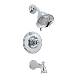 Delta - Victorian Monitor 14 Series Scald-Guard Tub and Shower Trim - Delta T14455-LHP Victorian Monitor 14 Series Scald-Guard Tub and Shower Trim Less Handle with Single Function Showerhead and Diverter Tub Spout in Chrome.