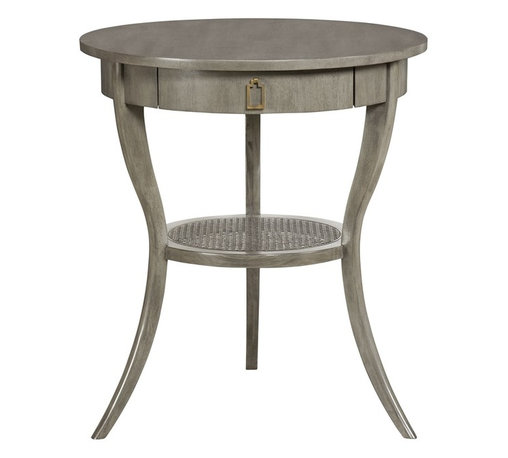 Vanguard - Miranda Lamp Table - Conjure up the retro look of a midcentury modern living room with this classic round table. A convenient drawer with a brass pull provides clutter-free storage for small items, and attractive wicker shelf holds books or small knick knacks.