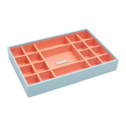 WOLF - Stackables Medium Standard Tray, Aqua - A vibrant, colorful combination of jewelry and accessory storage trays. Available in purple, aqua, yellow, and orange with contrasting fabric lined interiors they're perfect for organizing all of your jewelry and accessories! Each piece is sold separately and is designed to be mixed, matched and stacked to meet your individual storage needs.