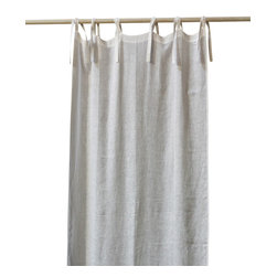 Pom Pom at Home Curtain Panel - Tie Top Linen Voile - Blue - Tie-top curtain panels have a delightfully casual but cultivated look that lends itself well to eclectic comfort, to loft-inspired minimalism, or to textile-loving romance. This linen voile curtain, a delicate French sky blue that looks sunny and pleasant in traditional rooms but cool and sophisticated in transitional spaces, has long draping ties and is unlined for the perfect combination of privacy and beauty while still keeping your room naturally lit.