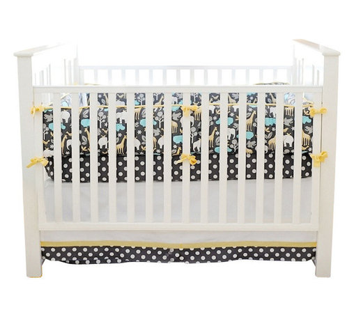"""Urban Zoo Baby Crib Bedding Set 4 Piece Set - The two piece baby bedding crib set includes a crib sheet and a 17"""" tailored skirt. Three piece set includes bumper, sheet and skirt. Bumper is slip covered for easy cleaning. Make it a four piece set by including a coordination blanket."""