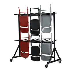 "Flash Furniture - Hanging Folding Chair Truck - This chair truck will quickly and safely store and transport seating from room to room. The convenient hanging design makes this a must have for Hotels, Banquet Halls, Conference Centers and other venues where temporary seating is set up. With a dolly, there is less physical strain or work required on your part and you can get big jobs set up and taken down much faster.; Folding Chair Storage Truck; Rubber Stoppers on Chair Hanger Bars; Black Frame Finish; 17-Gauge Welded Steel Frame; 3"" Diameter Polyolefin Swivel Wheels; Assembly Required: Yes; Country of Origin: China; Warranty: 2 Years; Weight: 97 lbs; Dimensions: 79""H x 35""W x 69.5""D"