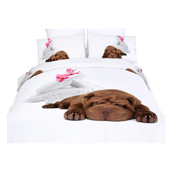 Dolce Mela - Sleepy,  Cotton Animal Print Bedding Duvet Cover Sheet Set By Dolce Mela, Twin - Sleepy dog will set the tone in your bedroom to relax and enjoy the comfort of the material and the adorable picture of this bedding ensemble.
