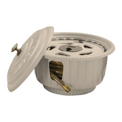 Suncast - 50 Ft. Hose Hideaway Hose Reel - Color: Light taupe . Holds up to 50 ft. of 5/8 in. hose . Planter design conceals hose reel inside . Comes fully assembled . Easylink system ensures watertight connection between hose reel and hose . Leader hose included. 19 1/2 in. W x 19 1/2 in. D x 10 1/4 in. H