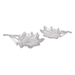 """Benzara - Aluminium Leaf Tray with Branch-Like Handles - Set of 2 - Ideally designed to give settings an enchanting, distinctive appeal, this Aluminum Leaf Tray will add a unique style and class to home interiors. Exquisitely designed from high grade aluminum, this set includes two similarly designed leaf trays. Perfect for use as a decor accent, this set of trays can be displayed on side and center tables for an attractive look. The sturdy, lightweight design of the trays in this set promise sturdiness in use and ensure lasting usage. Detailed to perfection, this metal tray set features intricate venation and has branch-like handles for a unique, vivacious appeal. Lavished with a silver finish and a rich distressed texture, the tray set exemplifies grandiose and elegance. This metal tray has a striking decorative feature that will enhance your home or office..; Sturdy, lightweight design; Intricate venation and has branch-like handles; Silver finish and a rich distressed texture; Ideal for use as a decor accent; Weight: 3.52 lbs; Dimensions:20""""W x 13""""D x 4""""H"""