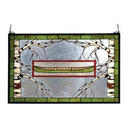 "Meyda Tiffany - Meyda Tiffany 70490 Stained Glass Tiffany Window Outdoor Windows Collec - 28"" W X 18"" H North Country Canoe WindowBare Branched Tan And White Birch Trees Frame A Meadow Green Canoe With Wheat Beige Interior. The Frame And Inset Frame Are Bordered In A Rust Streaked FinishIncludes Mounting Brackets and Chains"