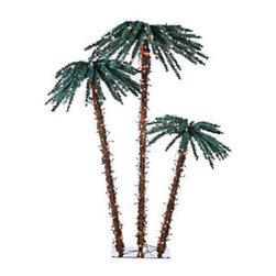 6 ft. Artificial Pre-Lit Christmas Palm Tree Set - 6 ft. Artificial Christmas Palm Tree Set