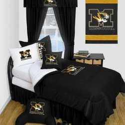 Sports Coverage - Missouri Tigers NCAA Locker Room Complete Bedroom Package - Queen - Save big and show your team spirit with Missouri Tigers Complete Bedroom Package which includes a Comforter, Sheet set, Shams, Pillows, Bedskirt, Drapes and Valance! Buy this Complete Bedroom Package and save off our already discounted prices - the best we could find; when you buy the complete bedroom package instead of each piece separately, you save and save big.   Microfiber Sheet Hem sheet sets have an ultrafine peach weave that is softer and more comfortable than cotton.  Its brushed silk-like embrace provides good insulation and warmth, yet is breathable.  The 100% polyester microfiber is wrinkle-resistant, washes beautifully, and dries quickly with never any shrinkage. The pillowcase has a white on white print beneath the officially licensed team name and logo printed in vibrant team colors, complimenting the NEW printed hems. The Teams are scoring high points with team-color logos printed on both sides of the entire width of the extra deep 4 1/2 hem of the flat sheet.    2 flanged edge that decorates all four sides of each Pillow sham. Made of 100% polyester jersey mesh, just like the players wear.  Bedskirt available in team color with no team logo printed on them.  Includes:  -  Comforter - Twin 66 x 86, Queen 86 x 86,   -  Flat Sheet - Twin 66 x 96, Queen 90 x 102.,   - Fitted Sheet - Twin 39 x 75, Queen 60 X 80,   -  Pillow case Standard - 21 x 30,   - Pillow Sham - 25 x 31,   -  Bedskirt - Twin 76 x 39, Queen 80 x 60 ,   -  Window Drapes: 82x 63 ,   - 18 Toss Pillow ,   -  Window Valance : 88 x 14 ,