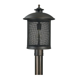"Capital Lighting - Dylan Screen Post Lantern - Dylan Screen 1-Light Outdoor Post Lantern.  Old Bronze finish with Bronze Brass Screen.  Takes one 100W bulb.  UL Listed.  Rated for Damp Environments.  Fits 3"" posts.  Post sold seperately."