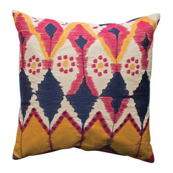 KOKO - Java Pillow - Pink, blue and yellow have never looked better. All the bright and bold colors are balanced perfectly with the cream accents. This would make a refreshing addition to a sofa or side chair.
