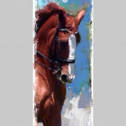 "HORSE Artwork - Giclee on canvas, 12x26"", Title:  NICK.   Arrives safely tubed on Museum grade canvas ready for stretching and framing by your trusted framer."