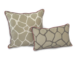ez living home - Giraffe Dec Pillow, Khaki - *Eye-catching yet subtle giraffe pattern; EZ to decorate with; Complements existing room decoration.