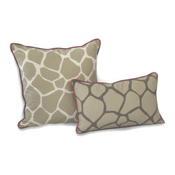 ez living home - EZ Living Home Giraffe Dec Pillow Khaki, 20x12 - *Eye-catching yet subtle giraffe pattern; EZ to decorate with; Complements existing room decoration.