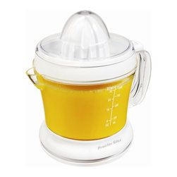 Hamilton Beach - Citrus Juicer 34 Ounce - The Proctor-Silex Juicit Juicer comes with two reamers for large and small citrus fruit. It features a pulp control dial, dishwasher safe parts and take-to-table detachable pitcher.