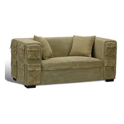 "Sarreid Ltd - Jack Hemingway Khaki Sofa by BSEID - Artfully mimicking your favorite cargoes, but room enough for two. Sink in for a good movie or video games. Plenty of pockets to keep all controls (remotes & game sticks) handy. A eucalyptus wood frame is fully upholstered in durable khaki green canvas. Ideal for the tween/teen scene. (SAR) 66"" wide x 33"" deep x 29"" high"