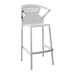 Papatya - Ego-K Barstool - Set of 4, Seat White / Transparent Clear Back - Ego-K Barstool - Set of 4