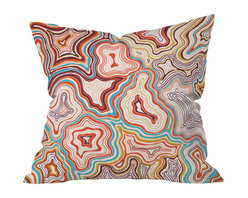 DENY Designs - Khristian A Howell Sedona Throw Pillow, 20x20x6 - Khristian Howell's inventive topographic design captures the enchanting Sedona desert landscape from an unexpected angle. Abstract, squiggly lines in classic Southwestern colors somehow evoke a perfect image of those sun-baked red sandstone formations against a clear blue sky. This pillow will look like a natural part of your Southwestern decor, even though you will have nothing else like it.