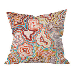DENY Designs - Khristian A Howell Sedona Throw Pillow - Khristian Howell's inventive topographic design captures the enchanting Sedona desert landscape from an unexpected angle. Abstract, squiggly lines in classic Southwestern colors somehow evoke a perfect image of those sun-baked red sandstone formations against a clear blue sky. This pillow will look like a natural part of your Southwestern decor, even though you will have nothing else like it.