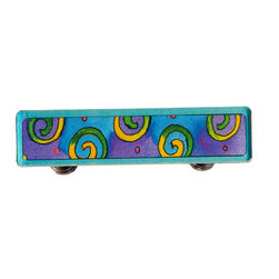 Paper Scissors Rok - Swirl Drawer Pull - Our Drawer Pulls are exclusively available online at Houzz.com. These colorful accents will brighten up any room, cabinet or piece of furniture. Each one starts with an original watercolor by artist Pamela Corwin, which is reproduced and sandwiched in between two durable layers of durable acrylic and mounted on a chrome finished base.  They are a perfect way to bring new life to a bureau, cabinet or even in the bathroom. Standard 8-32 screws included