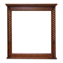 Legion Furniture - 33 in. Vanity Mirror in Light Walnut Finish - Rectangular shape. 2 in. frame thickness. Warranty: One year. Made from wood and glass. 33 in. W x 35 in. H (40 lbs.)