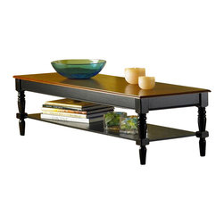 Convenience Concepts - French Country Coffee Table w Shelf - Lower storage shelf. Solid rubber wood legs for strength. Top, apron and shelf are made from MDF with oak veneer. Cherry and black finish. Assembly required. 48 in. W x 17 in. D x 17 in. H (45 lbs.)Matches other items in French Country Collection.