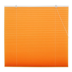 Oriental Furniture - Tangerine Pleated Shades - 36 Inch, Width - 36 Inches - - Bright and bold tangerine window treatment, inexpensive and easy to install. No need to cut to size, practical modern design retractable blinds with a pleated polyester fabric shade installs right on the window frame, hardware included. Five sizes (widths) to choose from; fits all windows up to six feet tall.  - Beautiful contemporary orange window treatment Oriental Furniture - WT-YJ1-W-3-36W