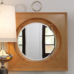 "Global Views - Global Views 2370 Ring Traditional Framed Wall Mirror - The Ring Mirror frame is made of solid oak with a solid brass nickel plated ring. The glass has a 1"" bevel. Hangs on the wall with 24"" metal cleat."