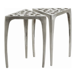 Arteriors - Freddie Accent Tables, Set of 2 - Here's a potent pair of tripod-style tables for your artistic sensibilities. The fun and fanciful Swiss cheese cutout tops catch glances and tempt you to touch. Made of lightweight aluminum, these trendy triangle tables pick up and go wherever your guests are, indoors or out.
