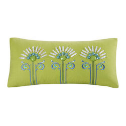 echo design - Sardinia Oblong Pillow in Lime Green - If it's fresh colors and a modern design aesthetic that you're after, you can't go wrong with Echo. Each collection is inspired from the beautiful scarves that Echo is famous for. The collections are filled with bold colors, great prints and special details on the accessories. The comforters have a speical finish with hidden bar tracks, so you get a perfect finish, and no stitching to disrupt the modern prints. The accessories have unique details that being in fun elements from the prints, but are also great stand alone decorative pieces for any room in your home. Echo is guaranteed to add the splash of color you've been looking for. Features: -Pillow. -Color: Lime Green. -Material: 100% cotton. -Spot clean.